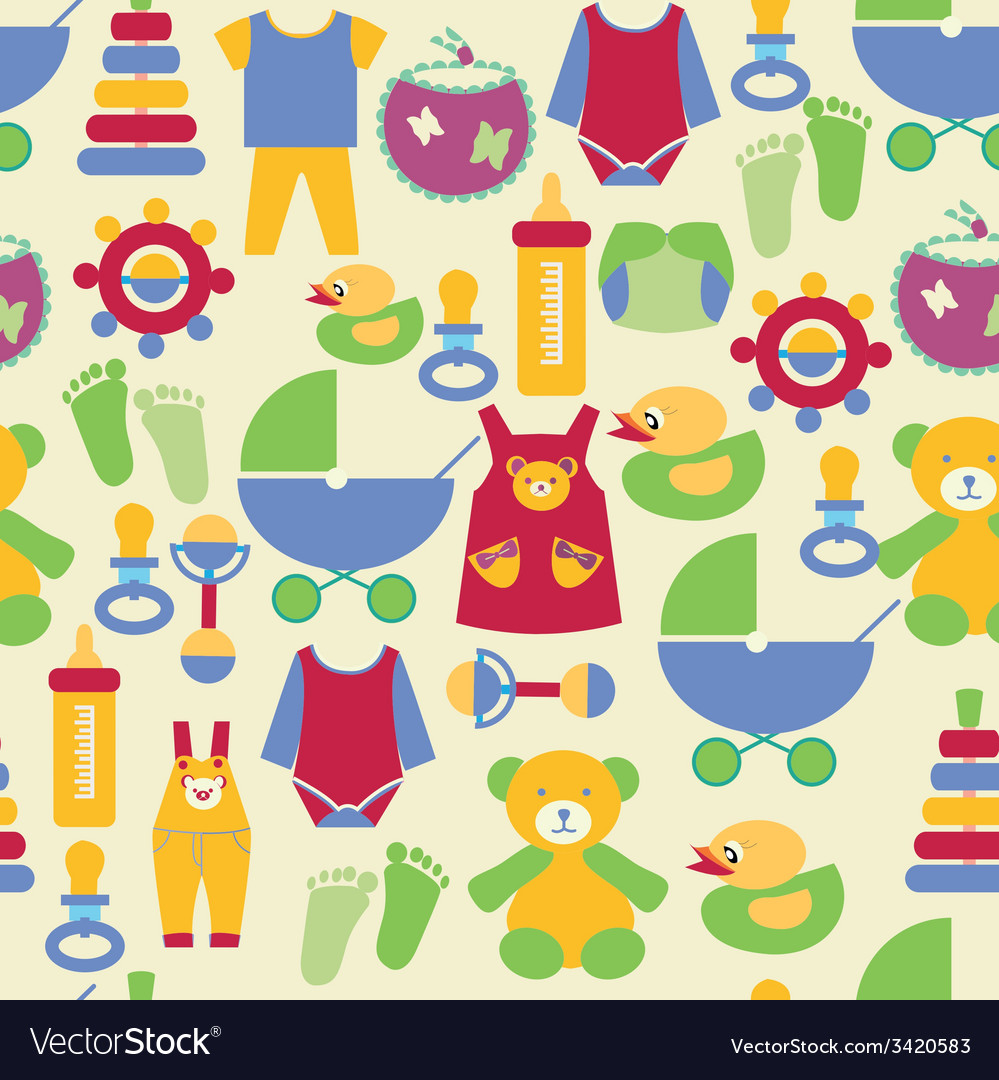 4aa991c53 Newborn baby stuff pattern Royalty Free Vector Image