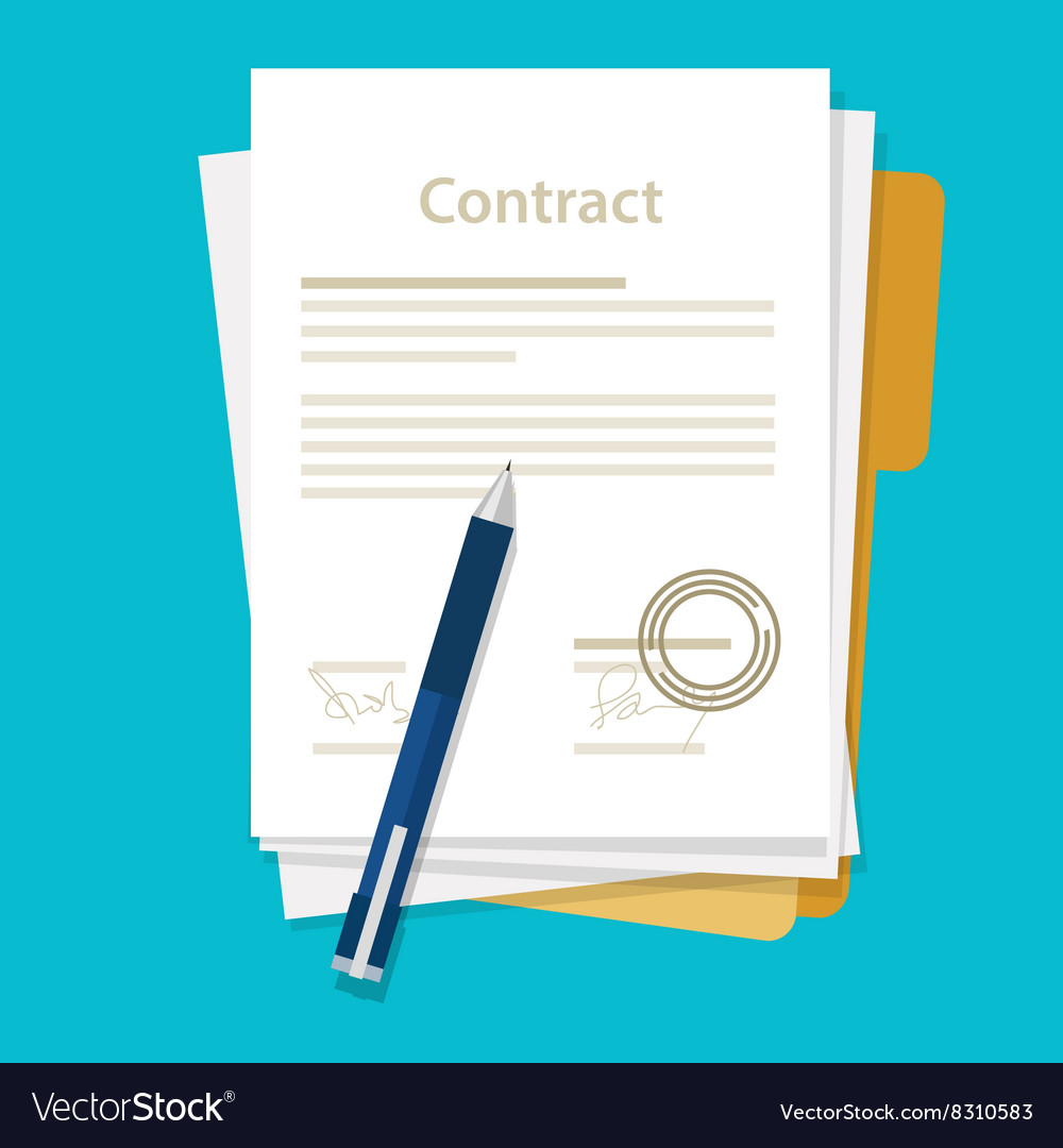 Signed paper deal contract icon agreement pen on