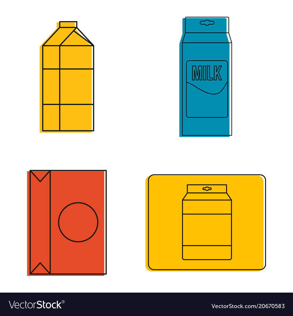 Tetra pack icon set color outline style