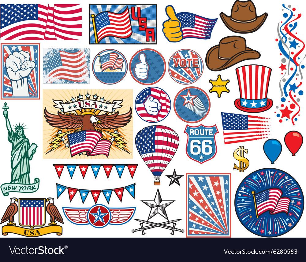 Usa Symbols Royalty Free Vector Image Vectorstock