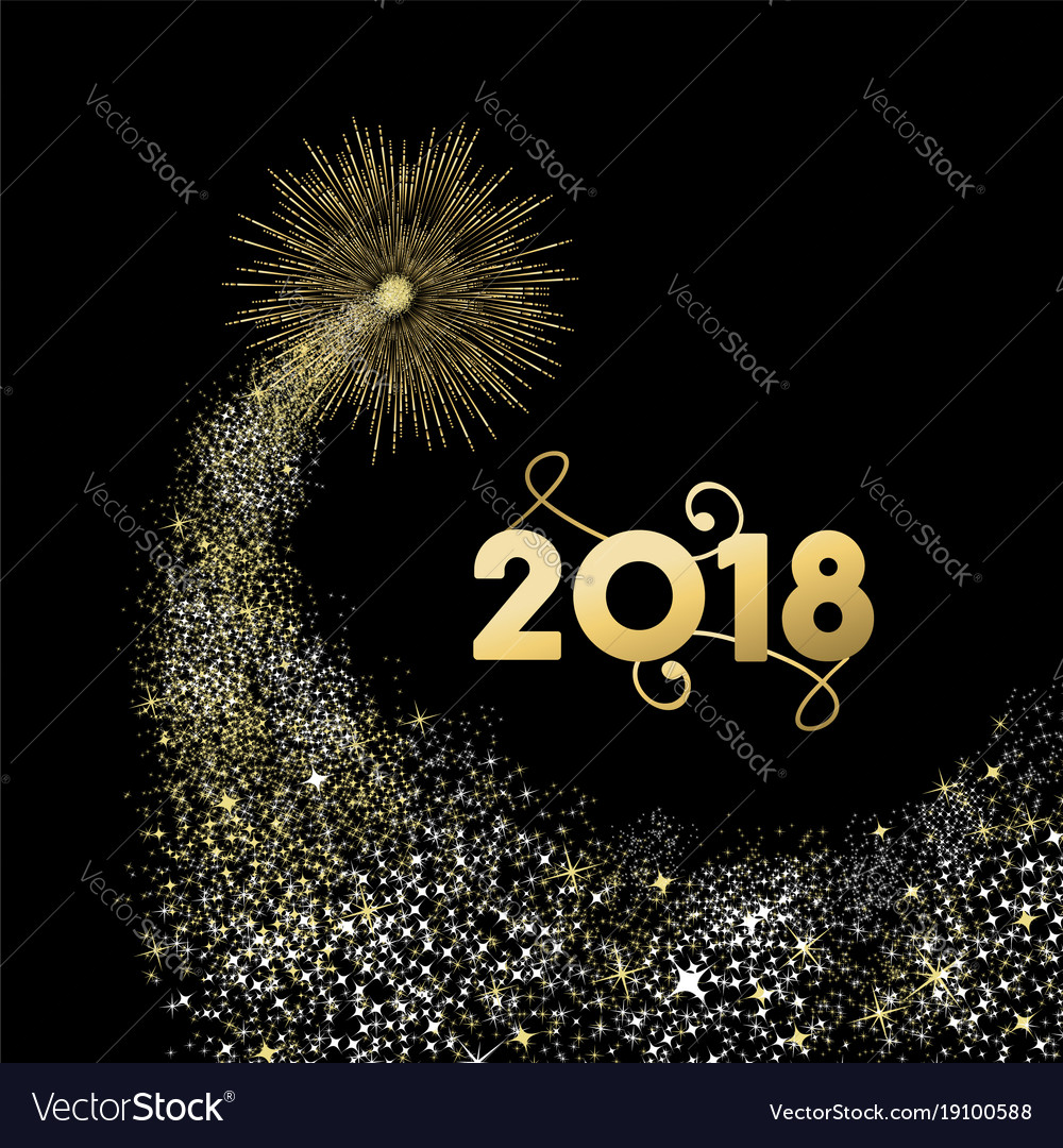 2018 gold new year fireworks greeting card