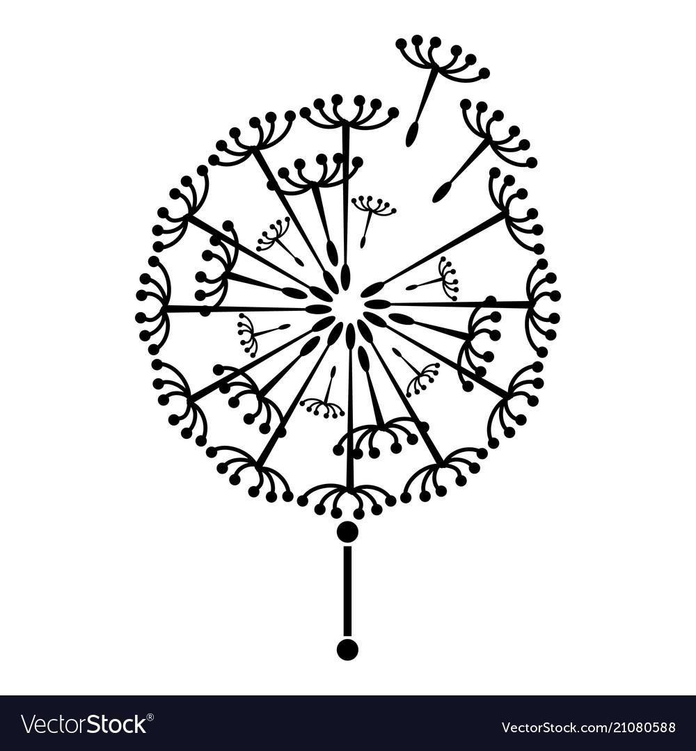 Black Dandelion Icon Simple Style Royalty Free Vector Image