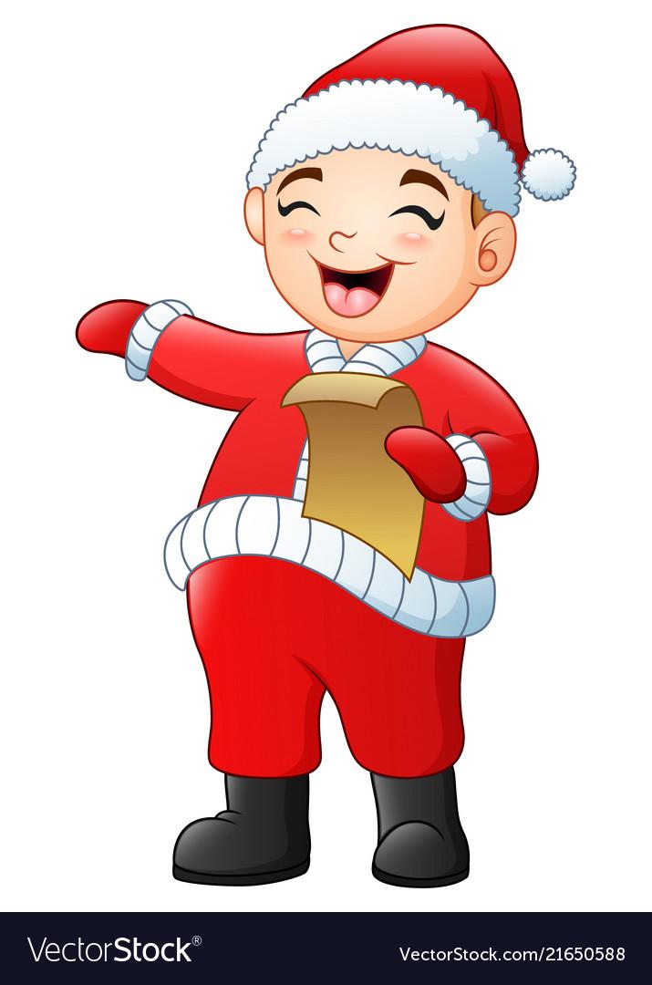 Cartoon santa singing christmas carols