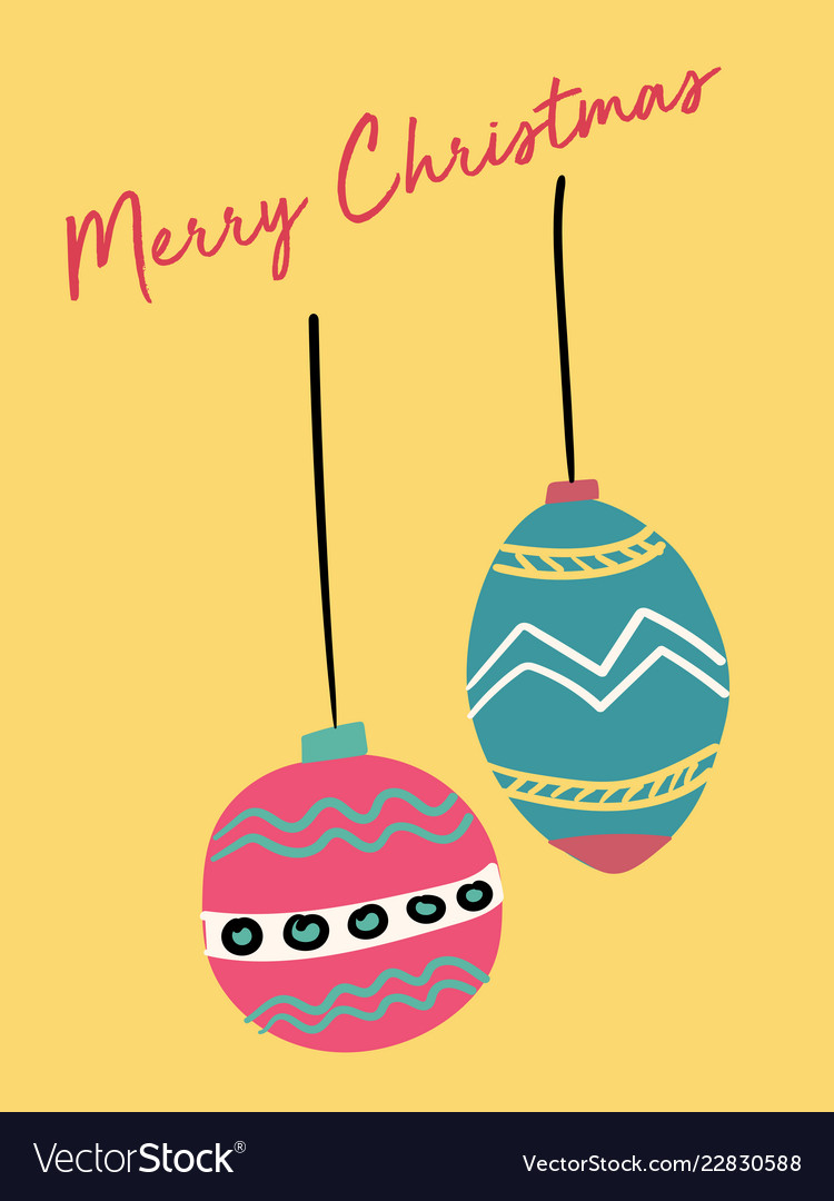 Christmas card cute festive vintage ball flat