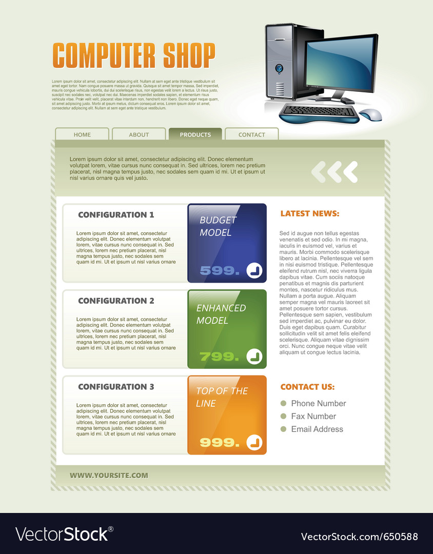 Computer shop web page template detailed