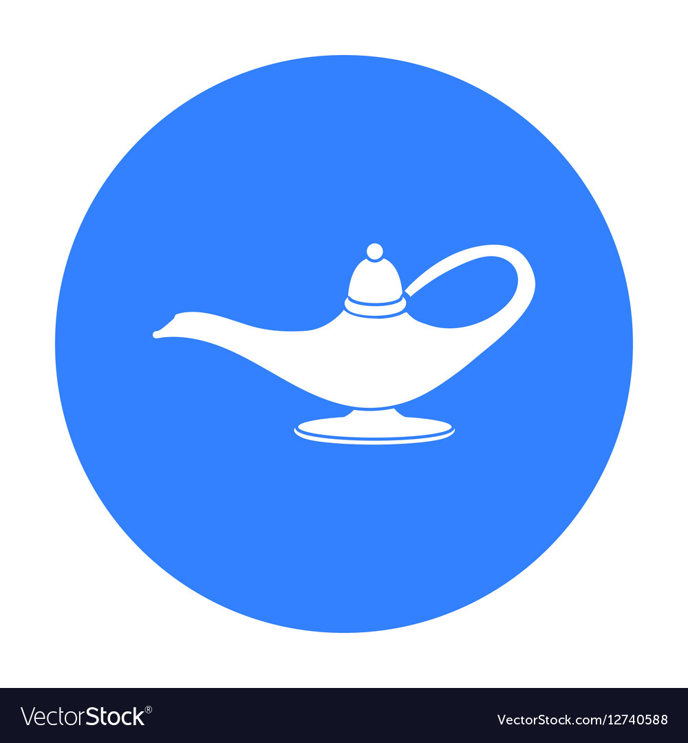 Genie s lamp icon in black style isolated on white vector image
