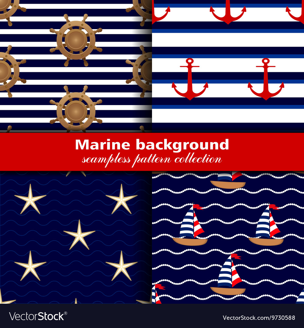 Marine background Set of seamless patterns four