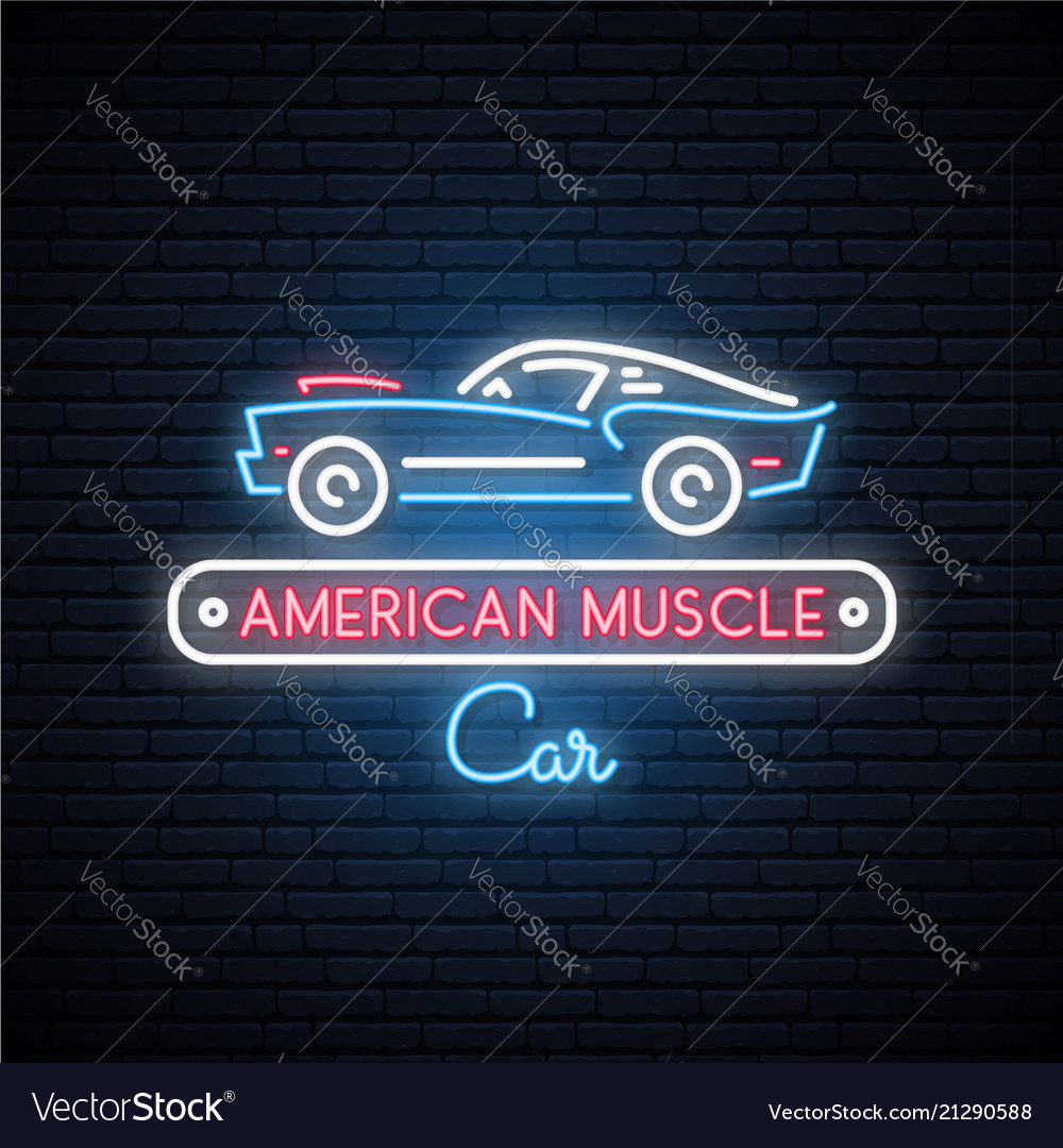 Neon silhouette of classic american muscle car