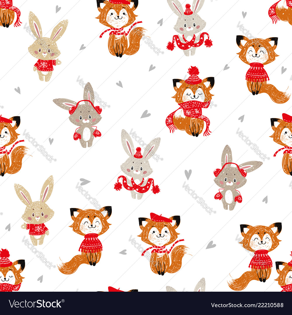 Seamless pattern with cute bunny and fox in scarf vector