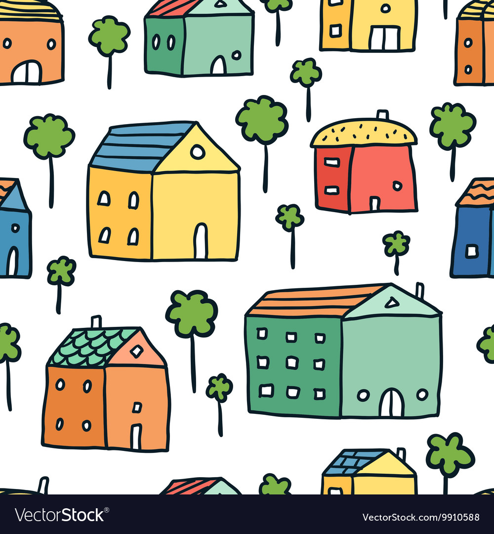 Seamless pattern with houses and trees