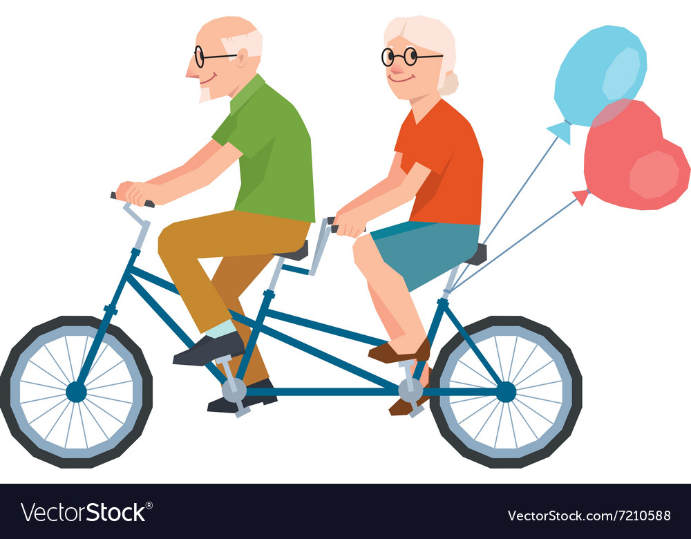 Senior loving couple on bike in low poly style