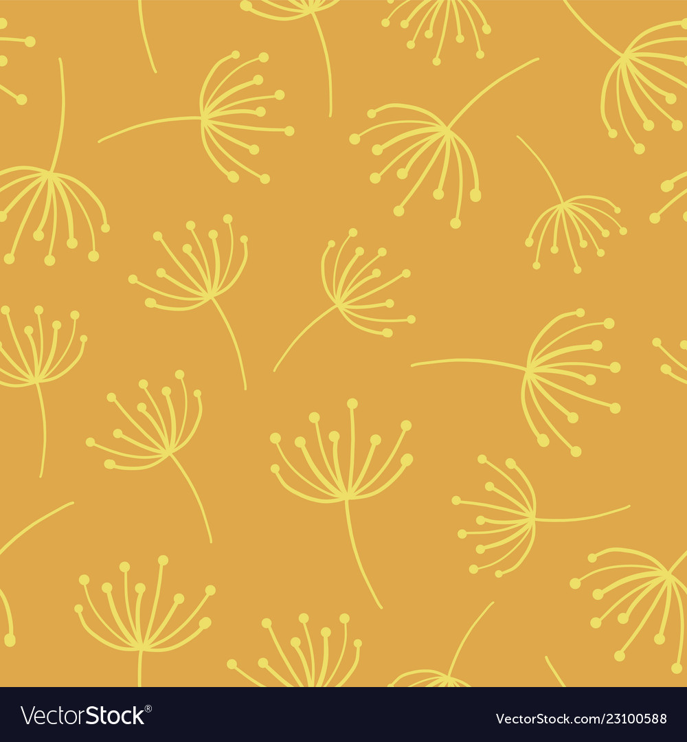 Yellow abstract flowers seamless background