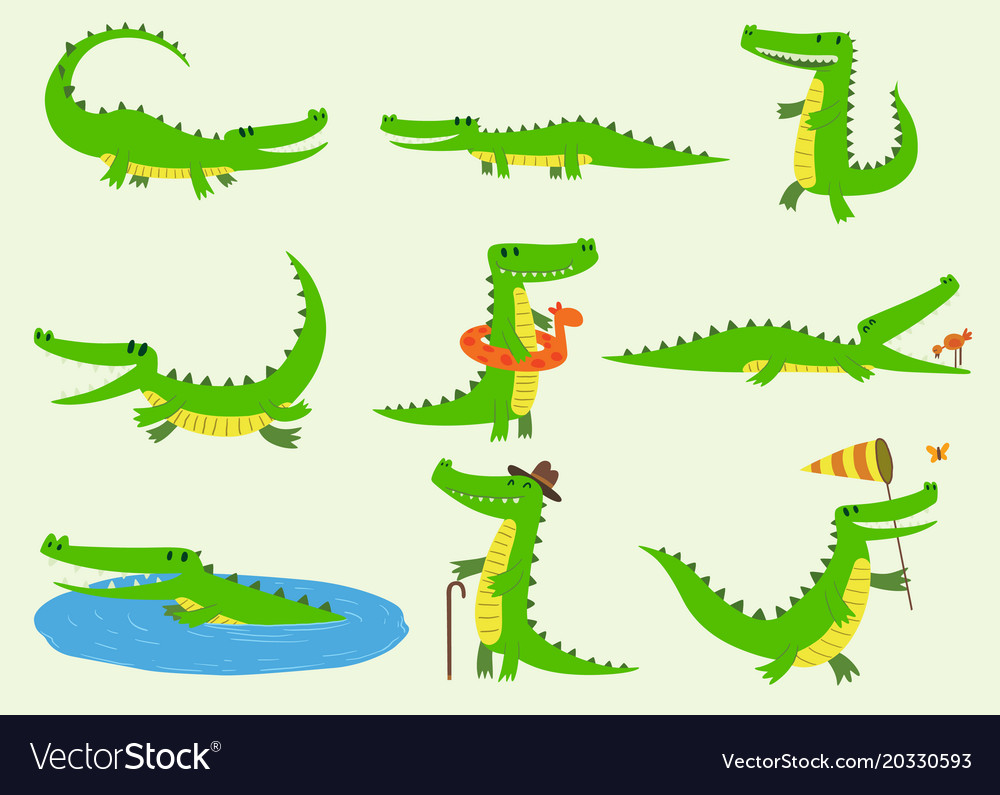 Cartoon crocodiles characters different
