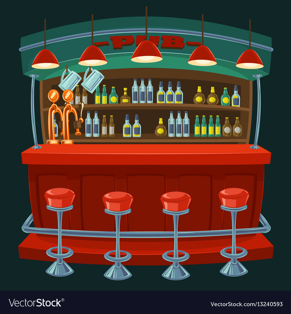 Cartoon the interior of the pub vector image
