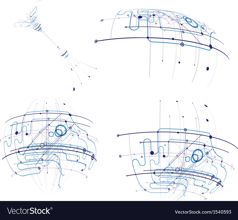 Circuit abstract set vector image
