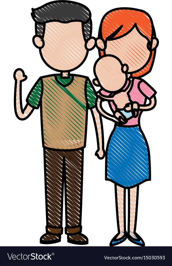 Cute couple dad and mum with her baby vector image