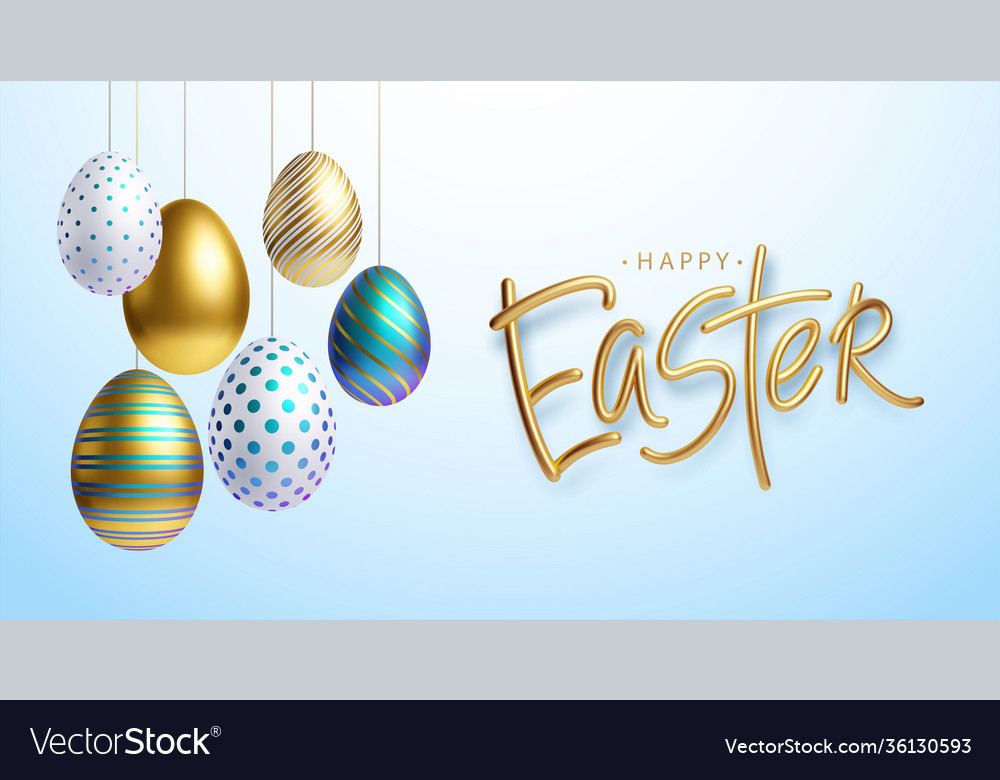 Easter greeting background with realistic golden