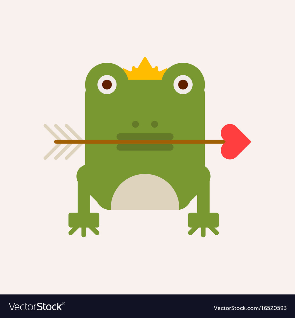 Frog with crown and arrow