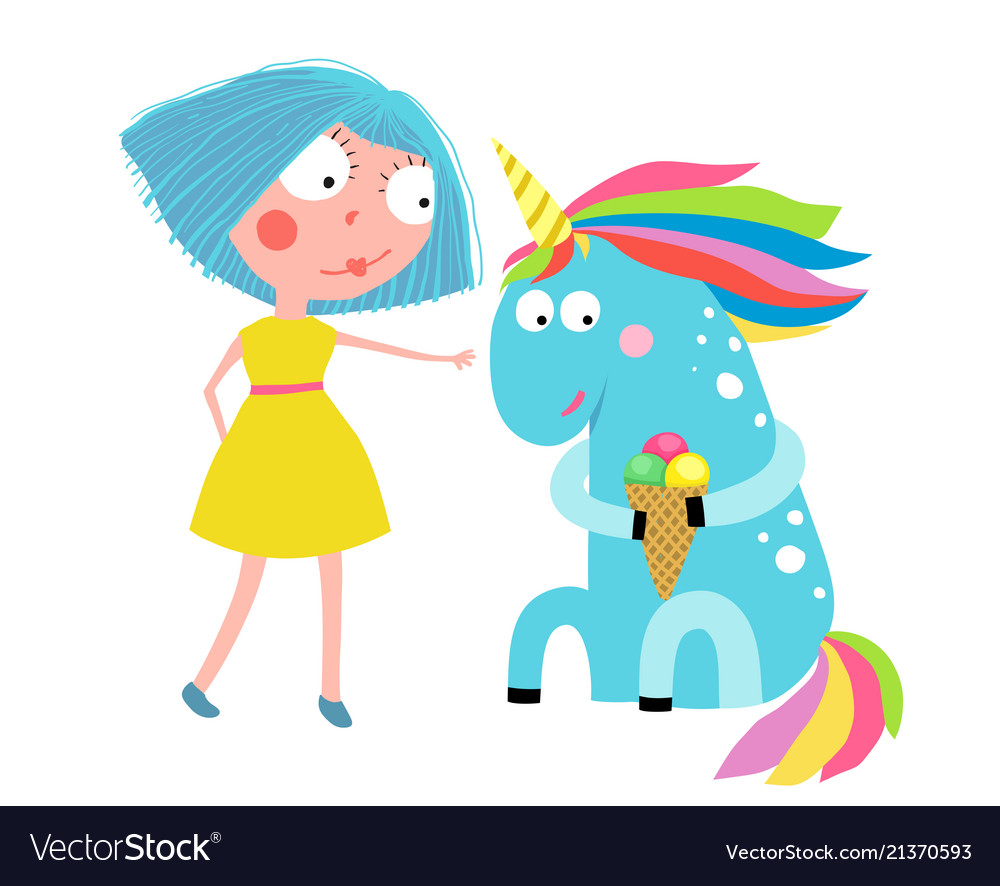 Girl unicorn eating ice cream cartoon