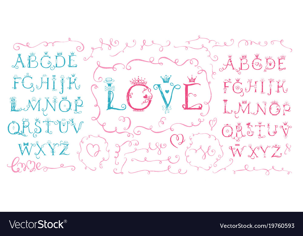 Hand drawn cute alphabet valentine s day love vector image thecheapjerseys Gallery