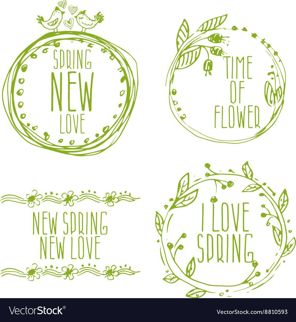 Hand drawn spring labels with flowersbranches and