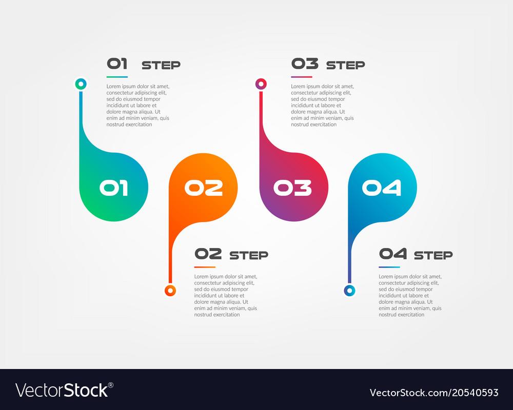 Horizontal steps timeline gradient infographics