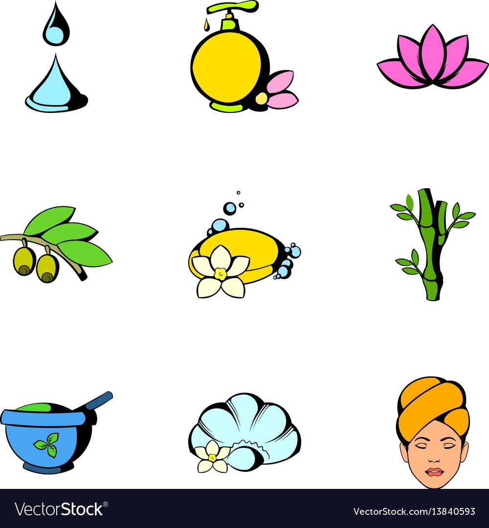 Massage icons set cartoon style