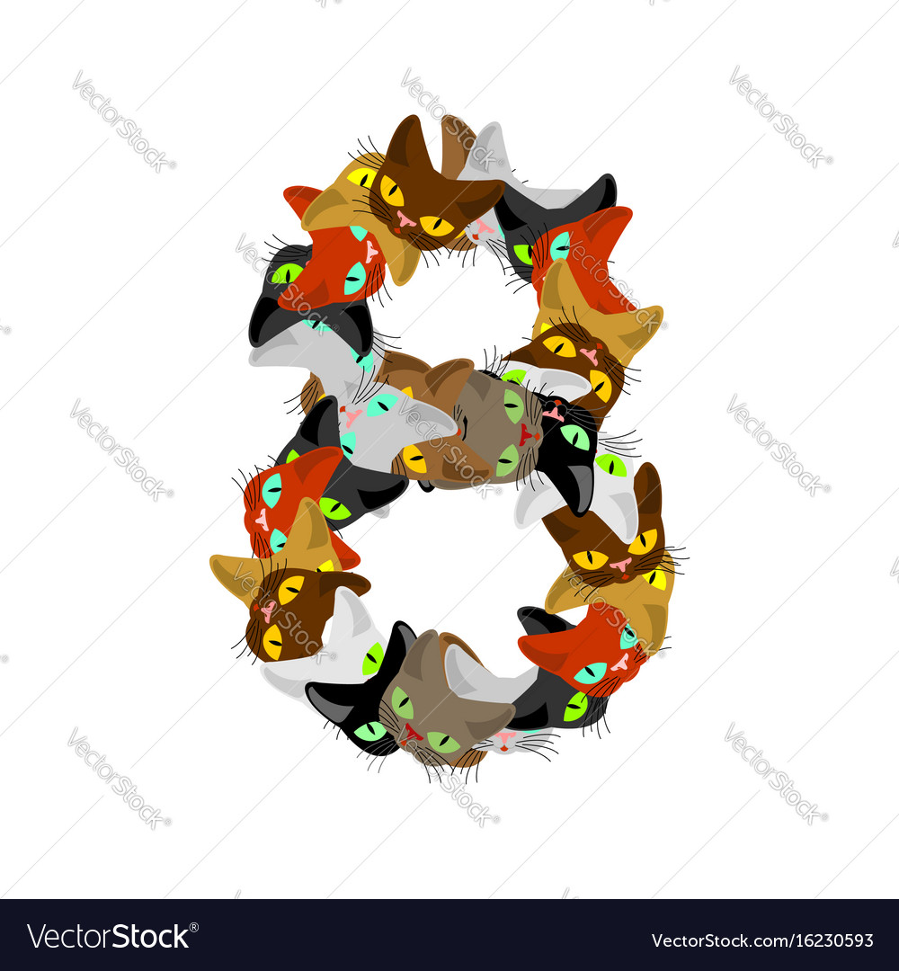 Number 8 cat font cats number eight pet alphabet