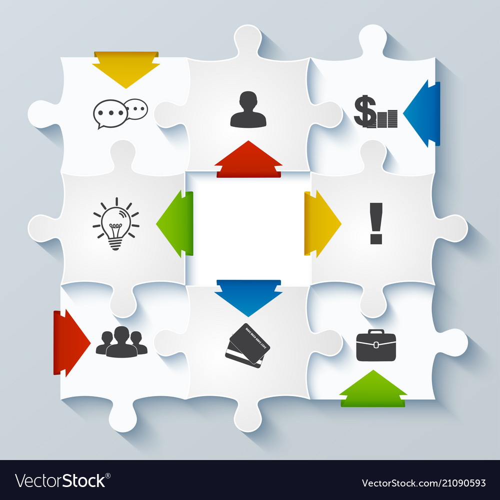 Parts puzzles with icons business concept