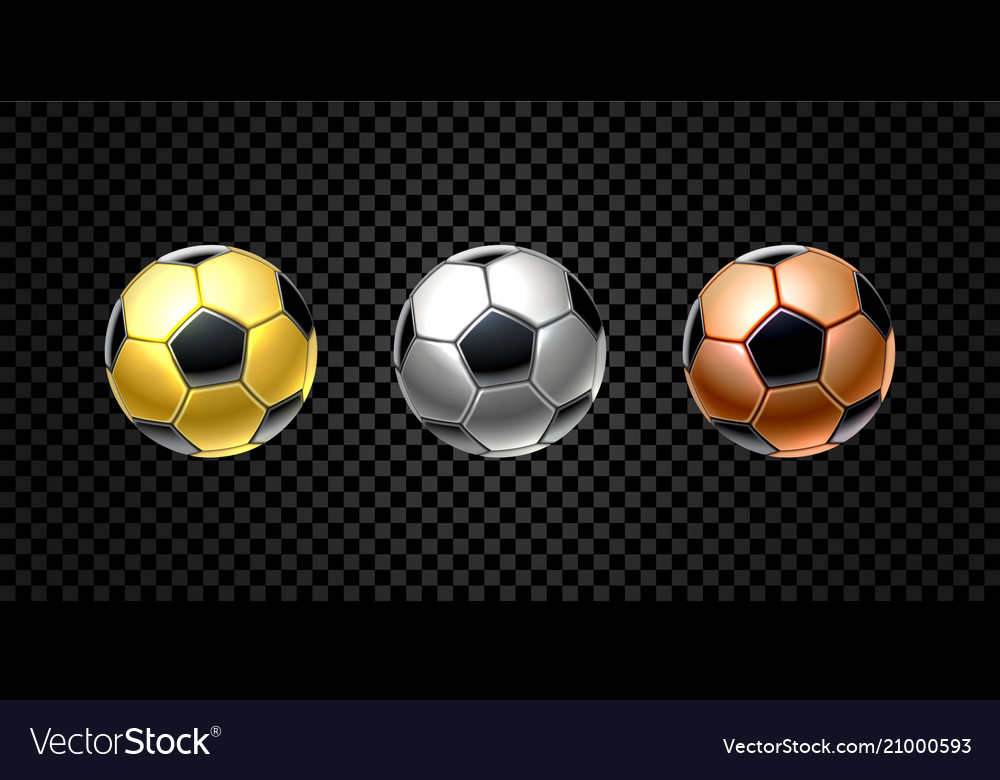 Set of 3d realistic football ball in golden