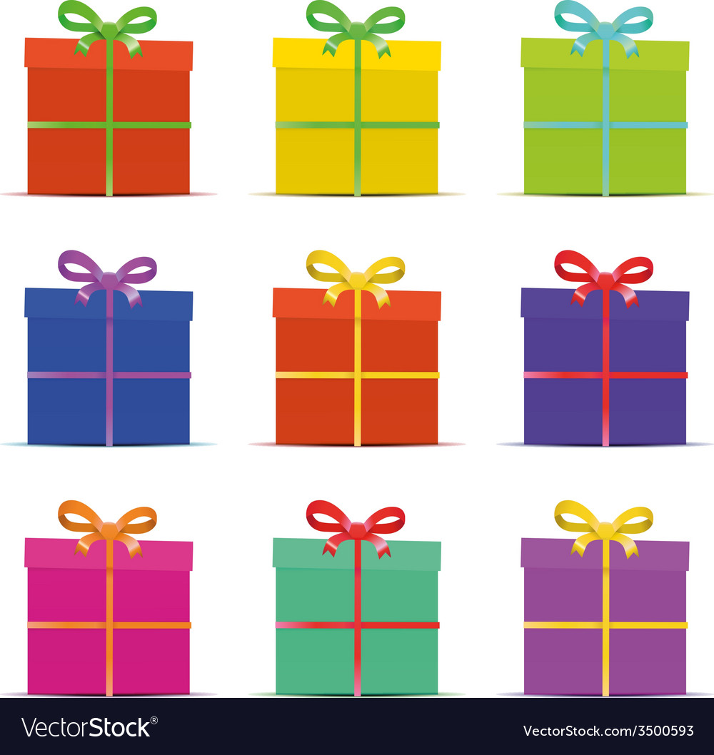 Set of nine different colorful gift boxes for the