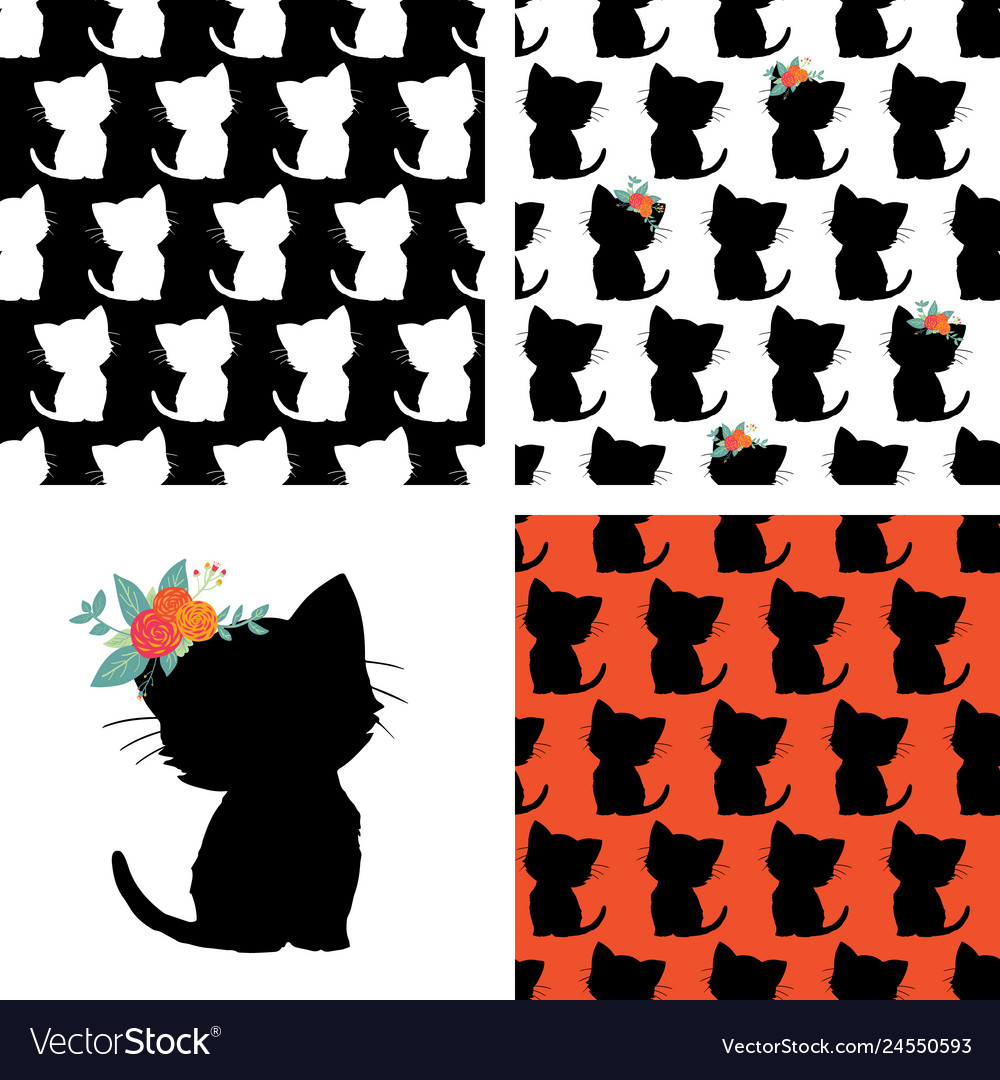Set of seamless cat pattern and kitty silhouette
