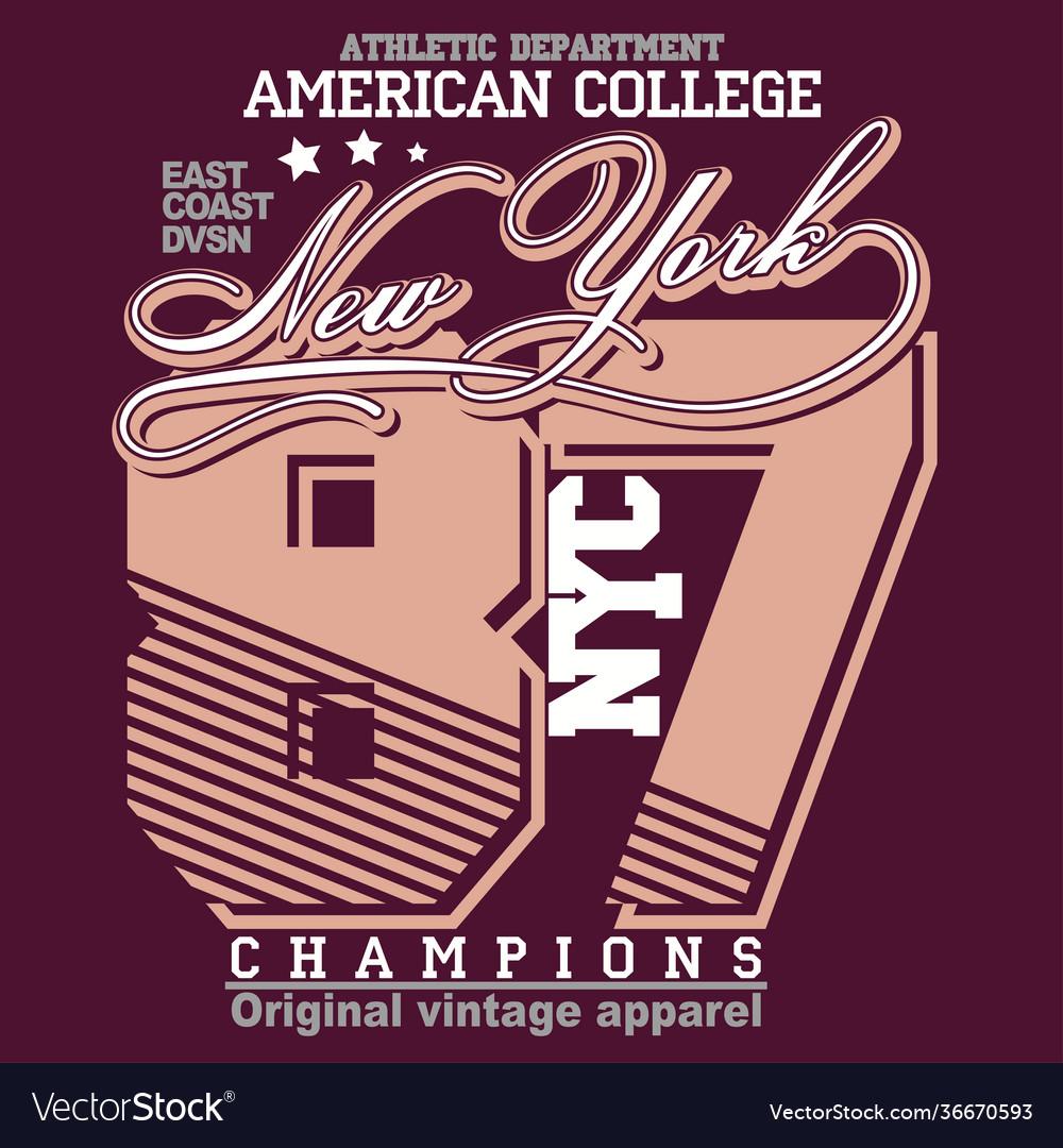 Sport t-shirt graphics new york brooklyn athletic