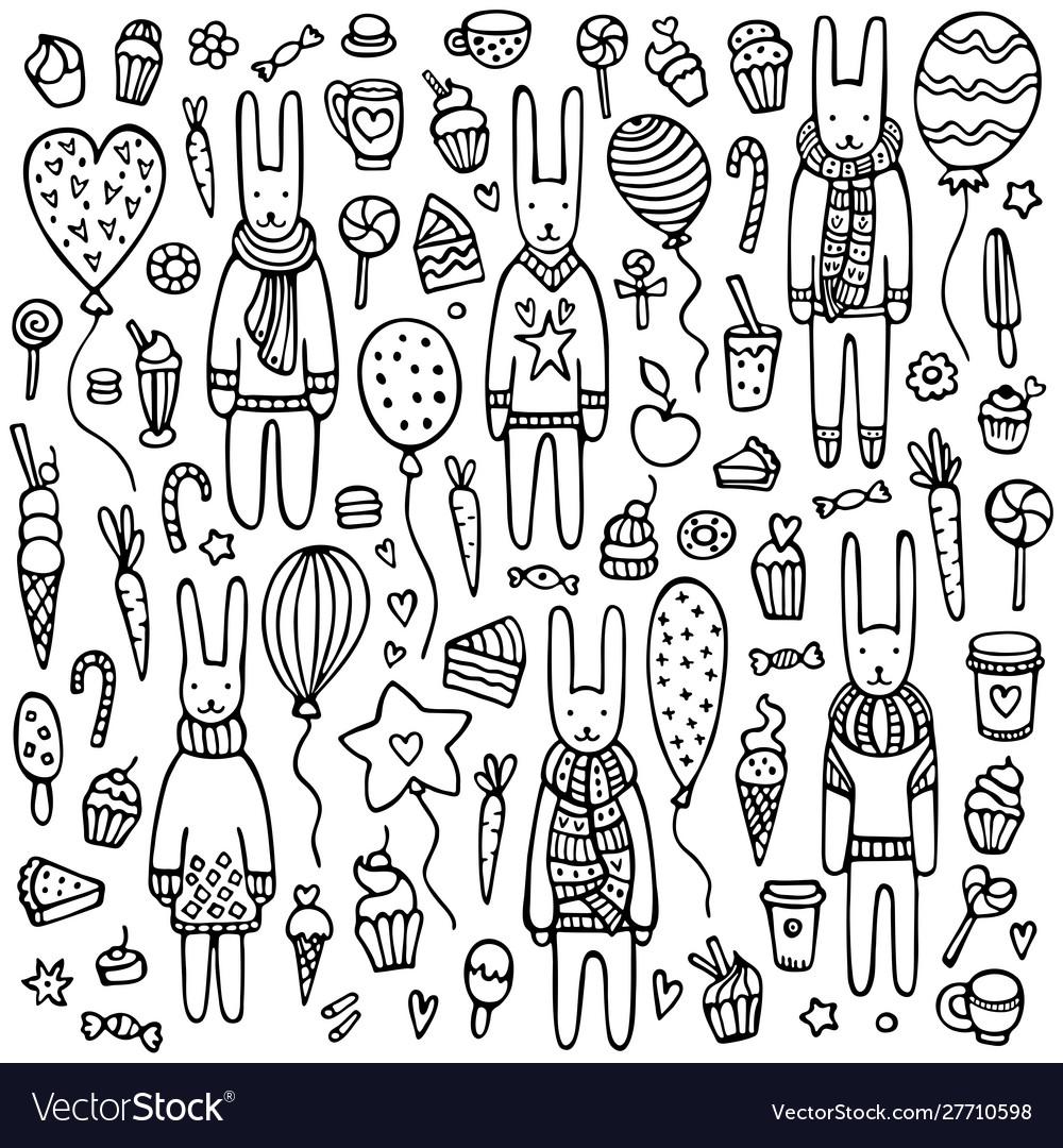 A set cute doodle rabbits