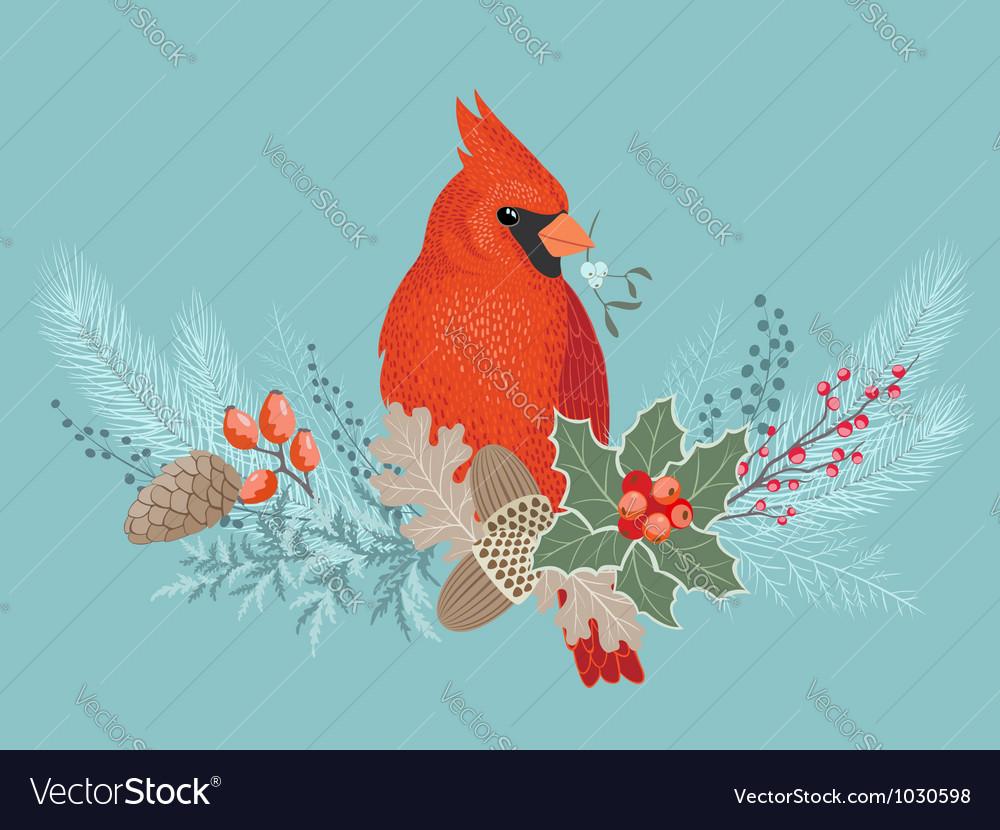 Cardinal on Christmas garland