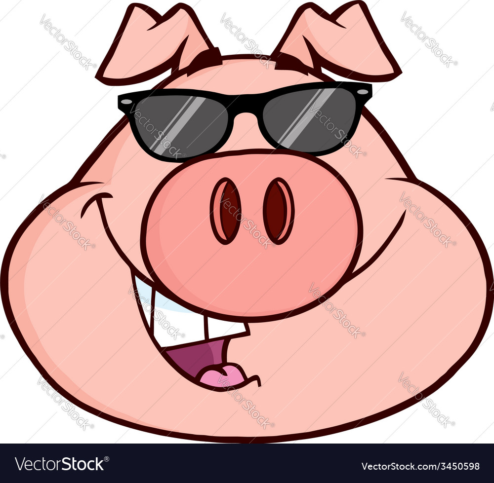 cartoon pig with glasses royalty free vector image