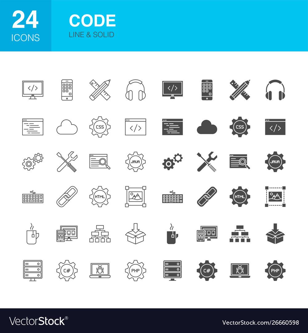 Code line web glyph icons