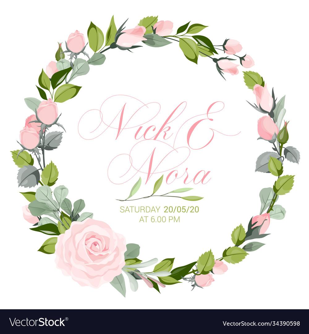 Fresh pink floral garden watercolor wreath