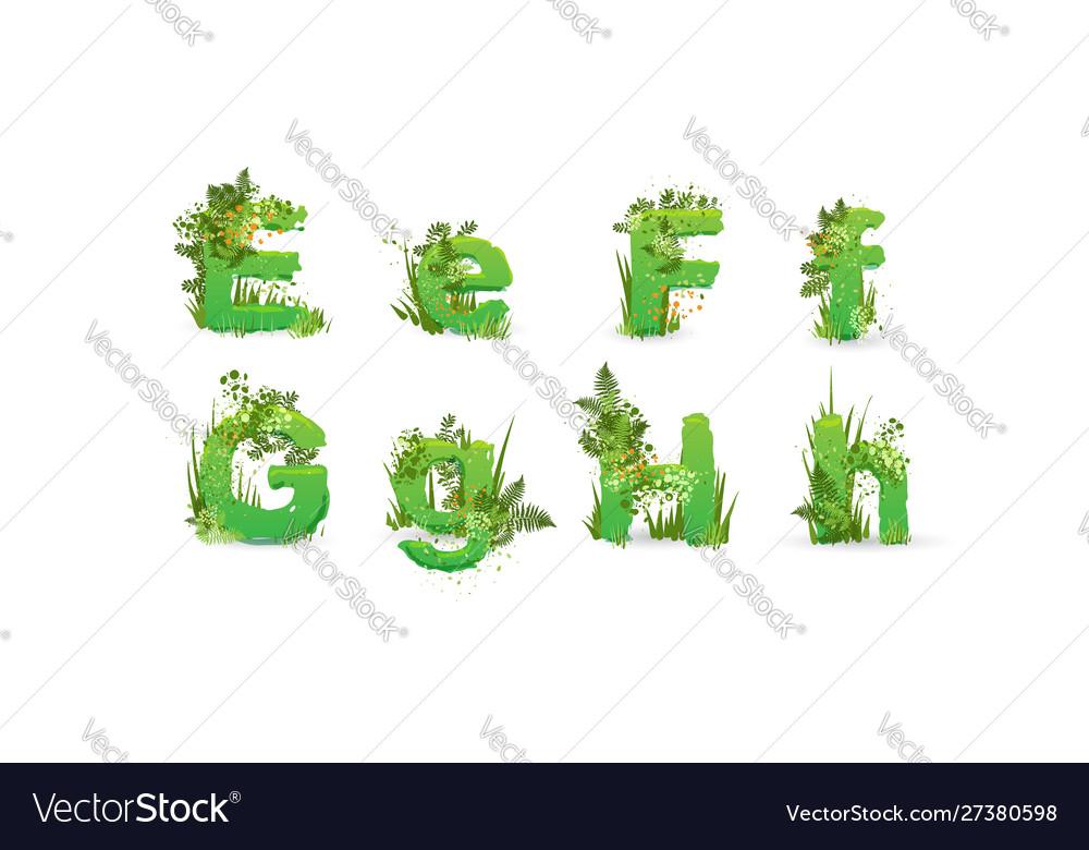 Green leaves font stylish