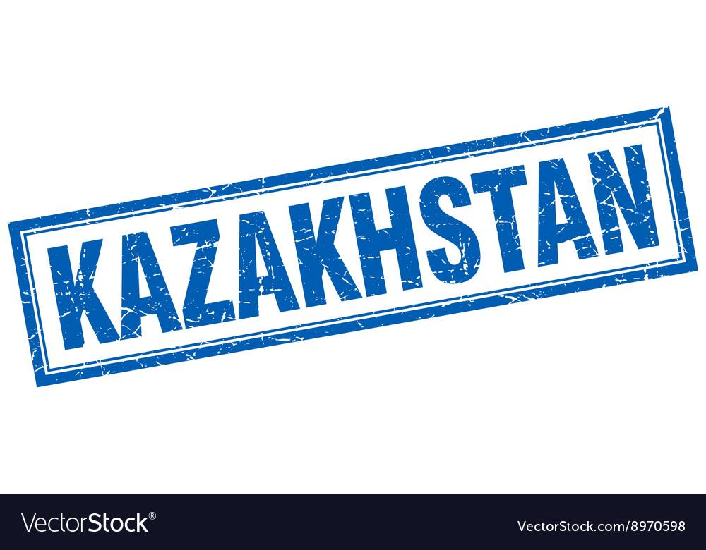 Kazakhstan blue square grunge stamp on white