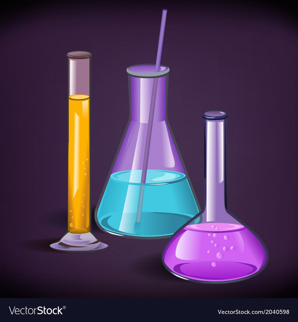 Laboratory glassware print template vector image
