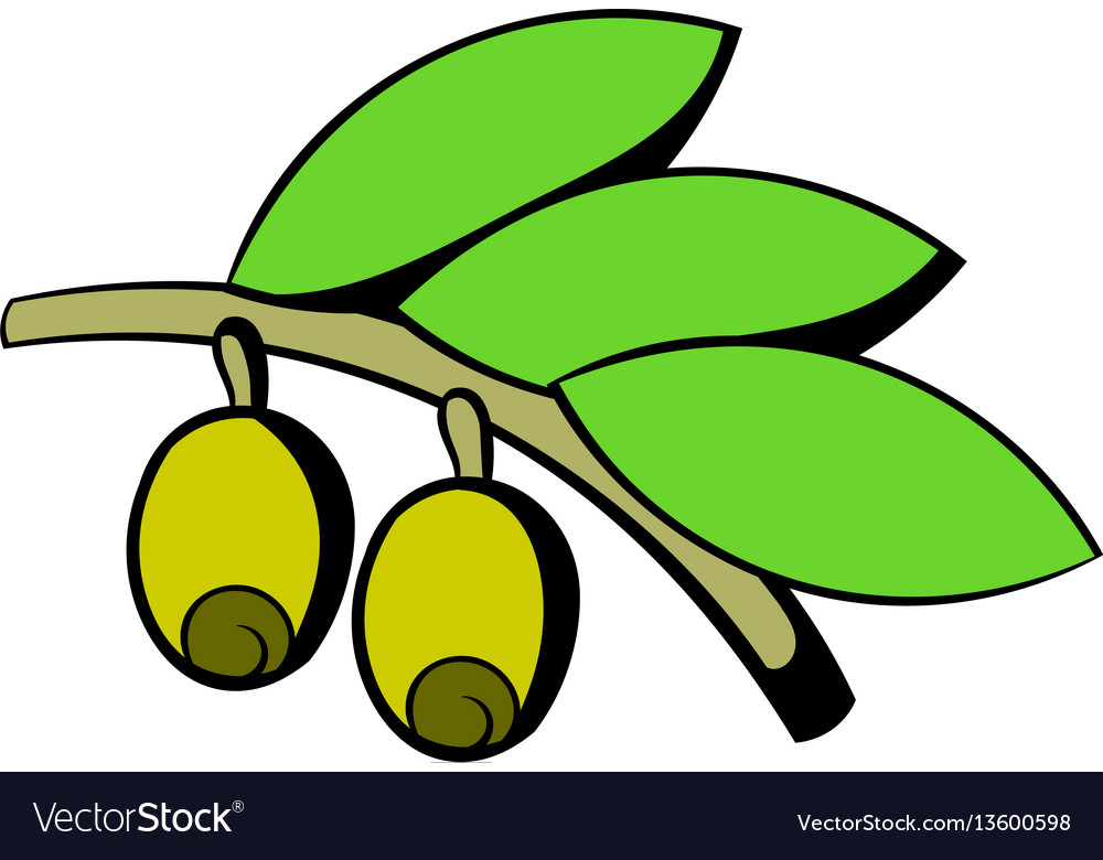 Olives on branch with leaves icon icon cartoon
