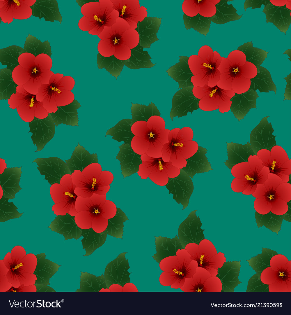 Red Hibiscus Syriacus Rose Of Sharon On Green Vector Image