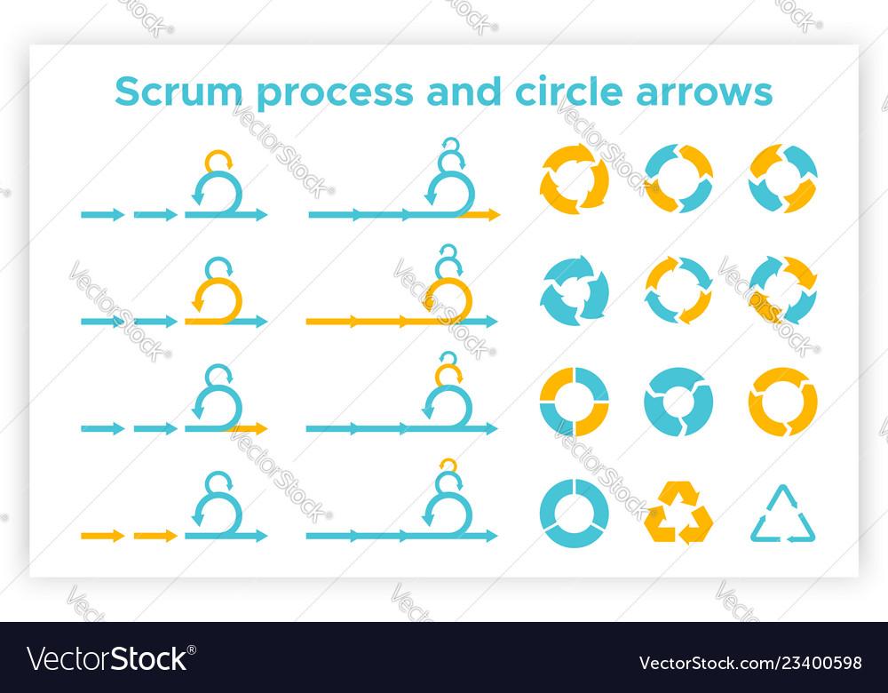 Scrum info graphic diagram element set