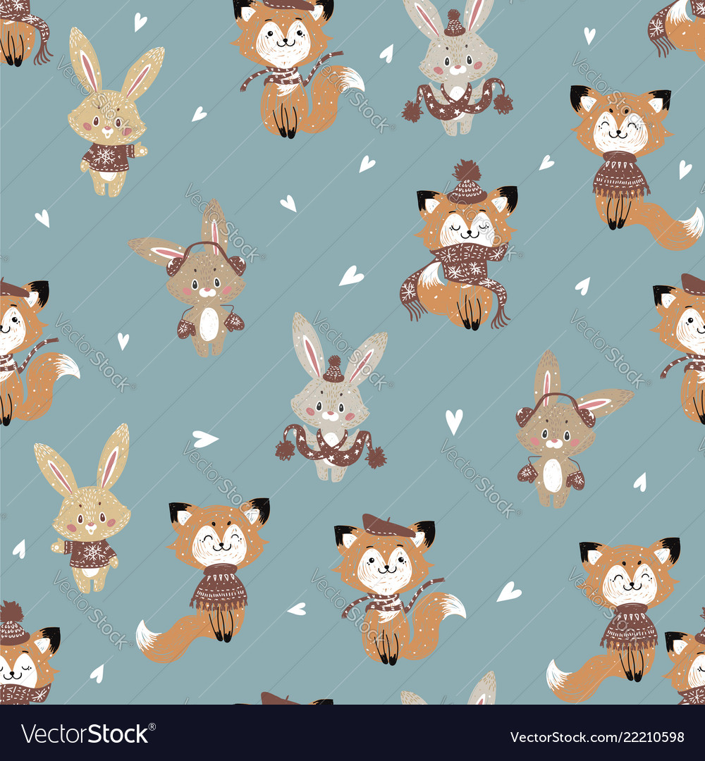 Seamless pattern with cute bunny and fox in scarf