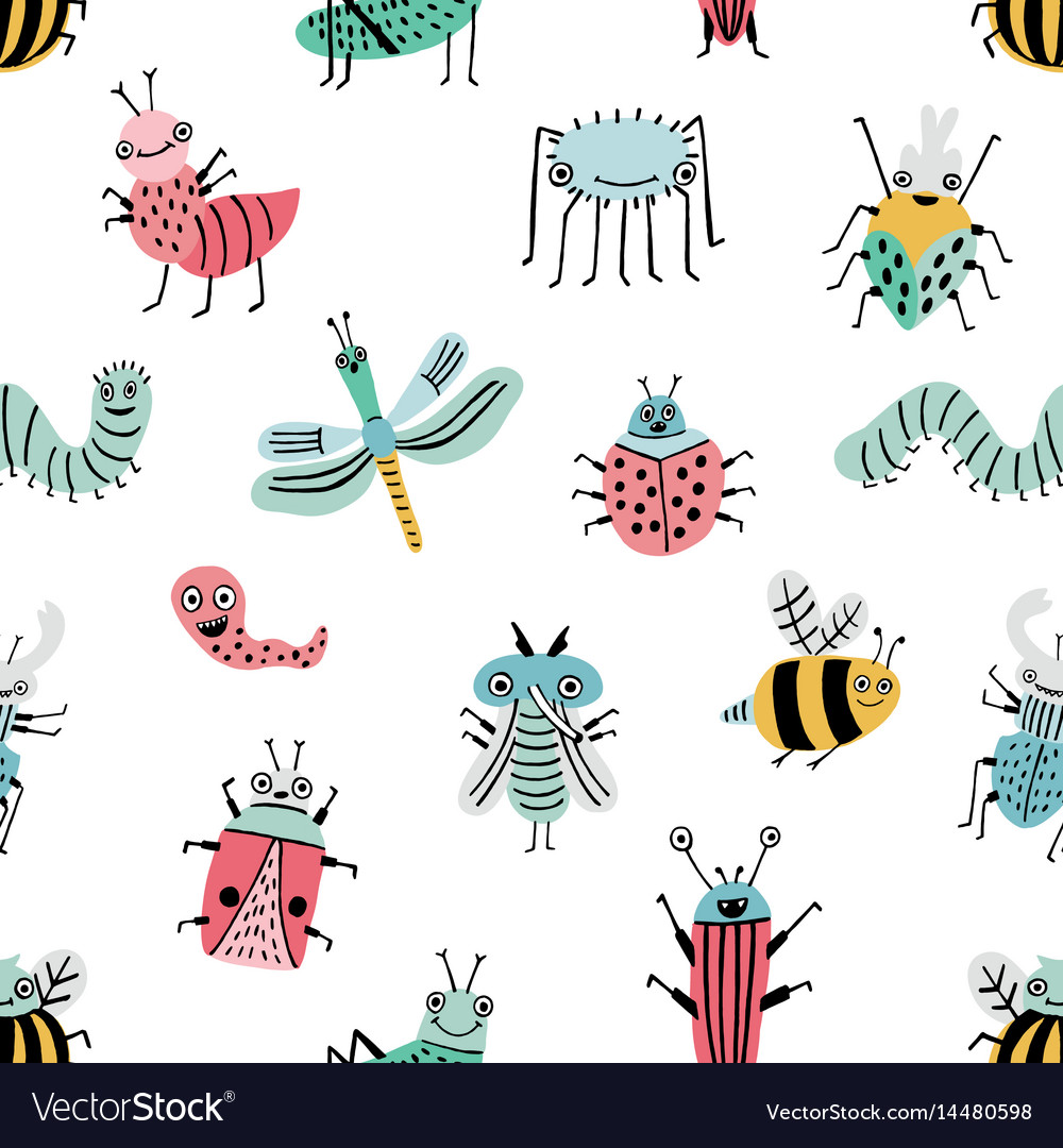 Seamless pattern with funny bug background