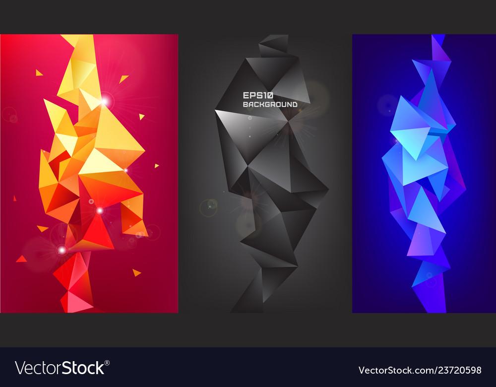 Set 3d geometric shapes facet vertical