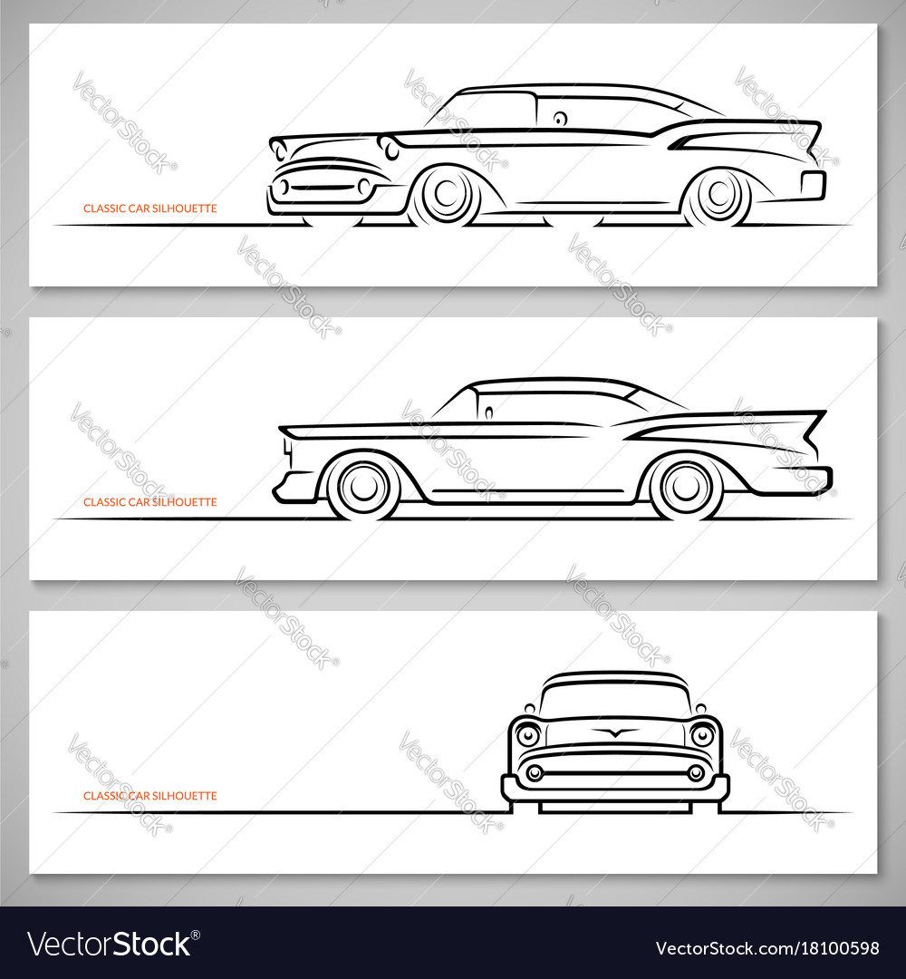 Set Of Vintage Classic Car Silhouettes Royalty Free Vector