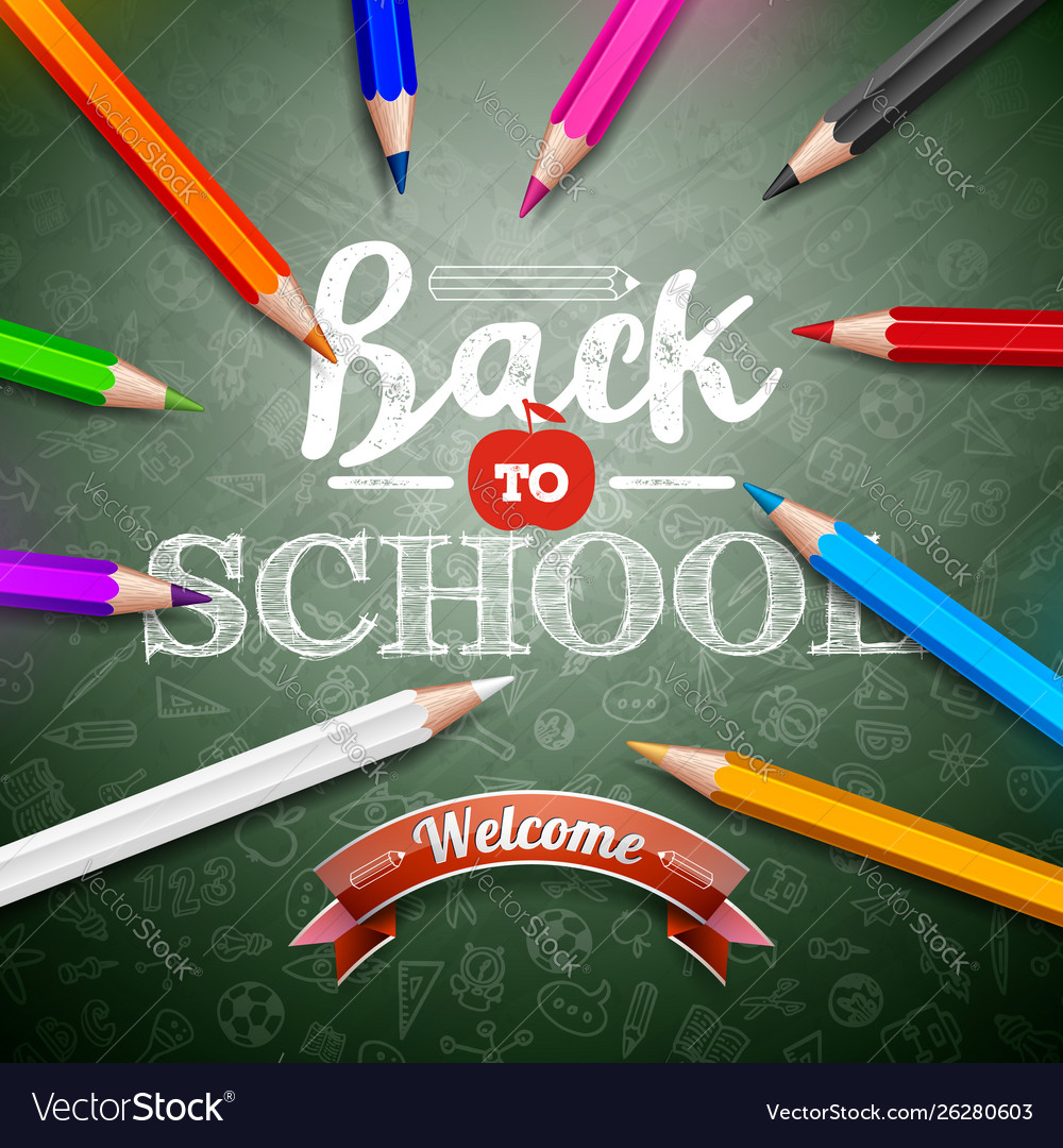 Back to school design with colorful pencil and