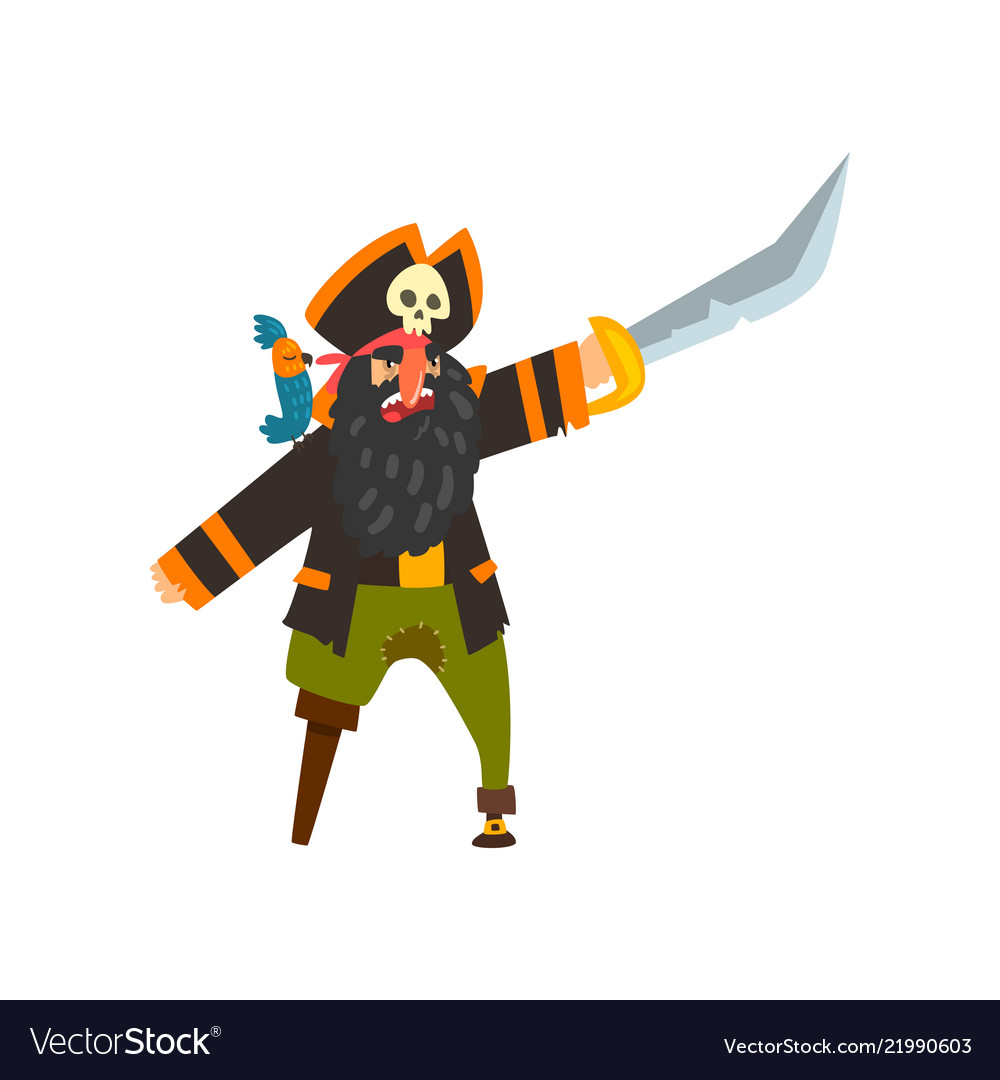 Bearded pirate character with wooden leg pointing